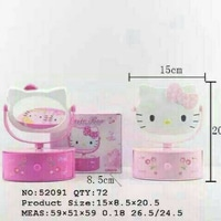 MUSIC BOX MIRROR HELLOKITTY / KOTAK MUSIK CERMIN HELLO KITTY / HK PINK